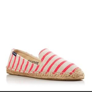 New Soludos Neon Pink and Beige Espadrilles 10